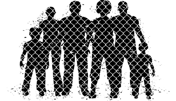 silhouettes behind a fence