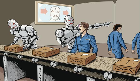 robot fires worker